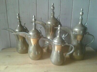 Set of 5 antique hand crafted brass Arabic/Middle Eastern Dallah pots