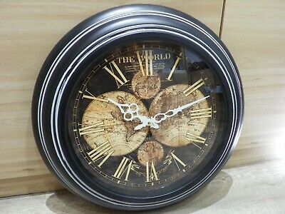 Wall clock world map mettalic 42cm(16.5'')antique vintage style office home deco