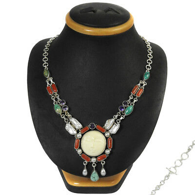 Bohemian Necklace 925 Sterling Silver Turquoise Coral Gemstone Ethnic Jewellery