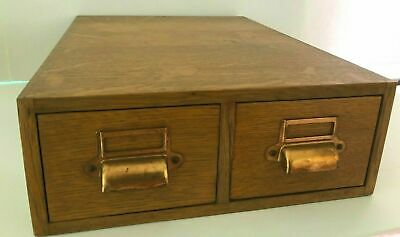 Antique Oak 2 Drawer Dovetailed  Library Card Catalog Box Cabinet
