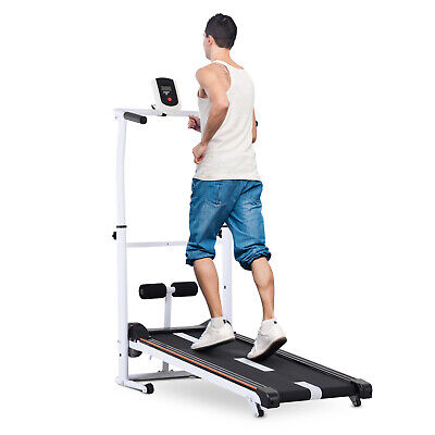 2-in-1 Manual Walking Treadmill & Sit-up Station Portable Incline Cardio Fitness