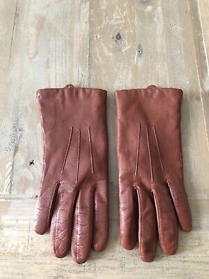 Dents - Ladies Brown Leather Gloves  - size 6 1/2