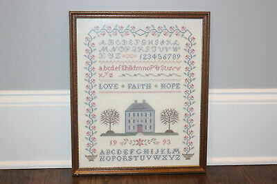 1993 Cross Stitch Crosstitch Framed Needlework Sampler House Letters Numbers