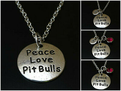 20PCS Antiqued Silver Peace Love Pit Bulls Round Charms #92289