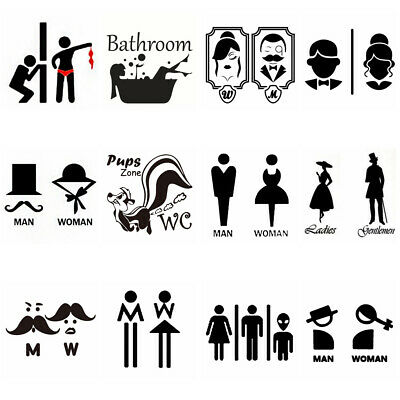 Creative Funny Pattern Man Woman Decals Toilet Stickers Public WC Sign Wall Art