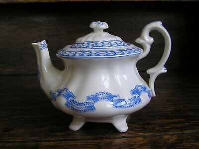Miniature 19th Century Staffordshire Turner & Tomkinson Blue and White Teapot