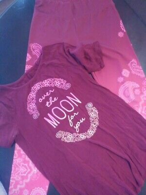 EUC Justice Girls Over the Moon Shirt and Leggings size 14/16