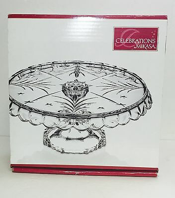"""Mikasa Celebrations Christmas Night Glass Footed Cake Plate Holiday 10-3/4"""" A10"""