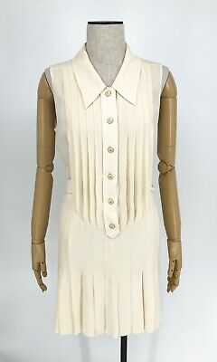 Authentic CHANEL 07P Coco Button Silk One Piece Dress Ivory CC Size 36 Rank B