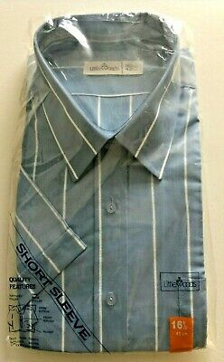 VINTAGE LITTLEWOODS BLUE WITH PINSTRIPE S/S SHIRT 16.5in 42cm NEW OLD STOCK