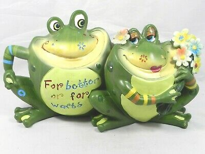 Superb Cute Couple Frogs On Wood Figurine Statue Garden Decor Home Ocoug Best Dining Table And Chair Ideas Images Ocougorg