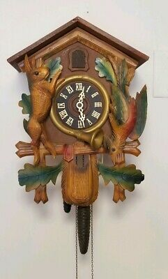Antique German 8 Day Cuckoo Clock W/ Bluejay Rabbit Mechanical Movement, Chime