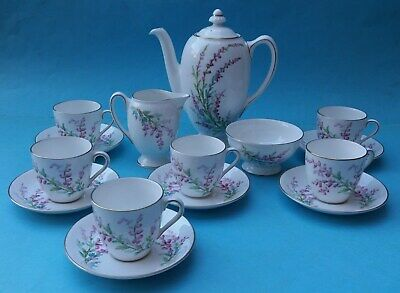 Pretty Vintage Royal Doulton Bell Heather 15 Piece Coffee Set