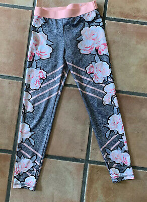 Justice Big Girls Heather Gray & Pink Floral Athletic Cropped Leggings Size 10