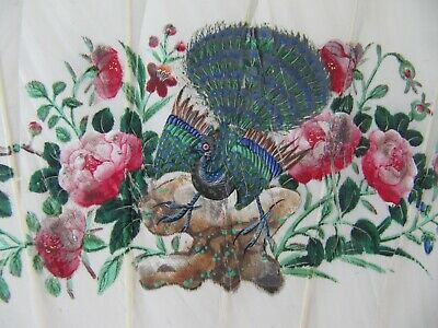 Antique Chinese 19th Century Painted Bird & Feather Carved Hand Fan
