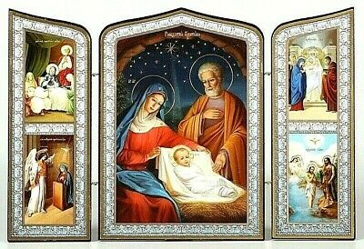 Nativity, Russian Orthodox Icon, Christmas Triptych, Wood, Silver Gold Embossing