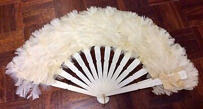 Hand Painted Vintage White Feather Fan