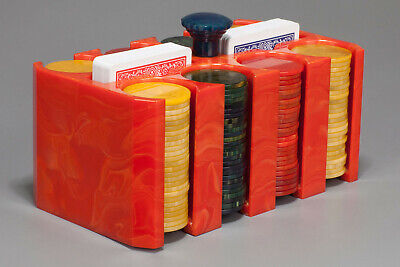 1940s BAKELITE  POKER CHIP HOLDER CADDY SET in MARBLED RED with BLUE HANDLE