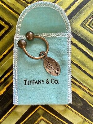 Antique Tiffany & Co Key Chain 925 Sterling Silver Horseshoe Oval Screwball Tip