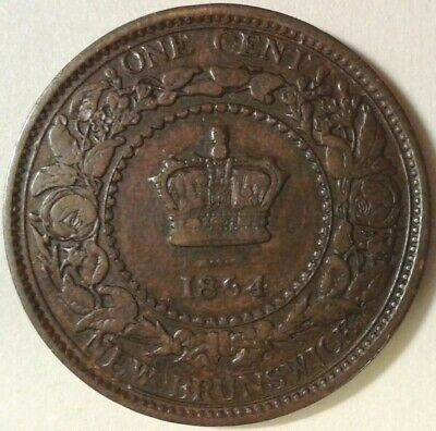 1864 NEW BRUNSWICK ONE CENT Coin - Incomplete Short 6