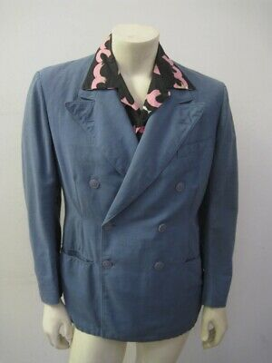 Vintage BLUE 1940s 2-Piece PALM BEACH Double Breasted Two Piece Suit Size 40