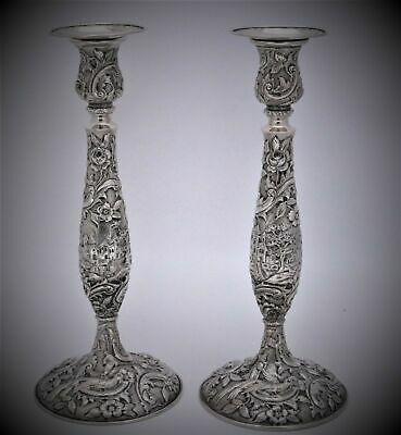 The Loring Andrews Repousse Castle Landscape Sterling Silver Candlesticks
