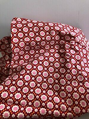 Authentic Vintage Fabric Stored 20 years Corduroy Red Pink and White Flowers