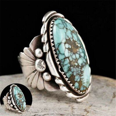 Vintage Silver Turquoise Fashion Wedding Ring Women Natural 925 Jewelry Sz6-10