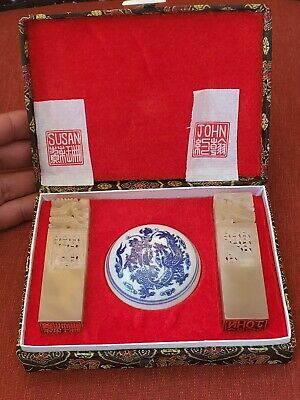 Chinese Exquisite Hand carved  jade color stone seal JOHN &SUSAN with paste