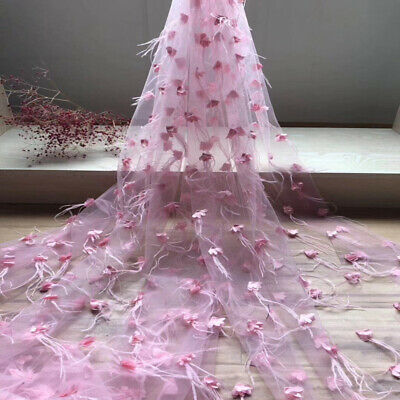 "1 Yard 3D Flowers With Feather Tulle Mesh Lace Fabric For Dress Gown 51"" Width"