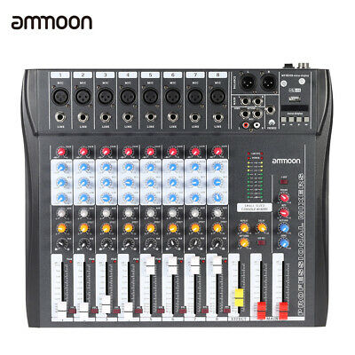 8 Channel Digtal Mic Line Audio Mixing Mixer Console with 48V Phantom Power H4N4