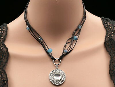 round cut crystal silver plated pendant blue beads black leather necklace S03