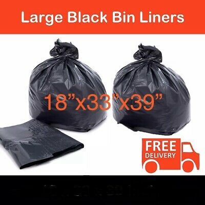 EXTRA STRONG HEAVY DUTY BLACK BIN LINERS (200pc Box) RUBBISH BAGS REFUSE SACKS