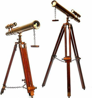 Floor Standing 18 Brown Antique Telescope With Tripod Stand