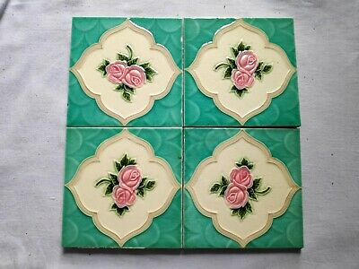 1940s 4 Pcs Embossed Peranakan Art Architecture/Furniture Tiles