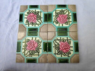 1940s 4 Pcs Embossed Majolica Art Nouveau Architecture/Furniture Tiles , Japan
