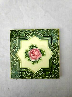 1940s Embossed Majolica Decorative Art Nouveau Architecture/Furniture Tile,Japan