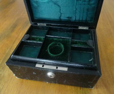 Good Antique Jewellery Box, 2 Tray Fitted Interior Pocket Watch Compartment