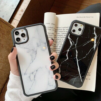 For iPhone 11 Pro Max XS XR 8 7 6S Shockproof Marble Soft Bumper Hard Case Cover