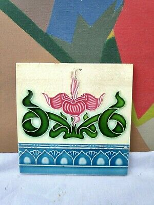 1940s Vintage Embossed Floral Art Nouveau Architecture / Furniture Tile , Japan