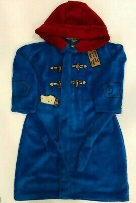 Boys New Paddington Bear Blue Dressing Gown Hooded robe Age/'s 2-7 Years