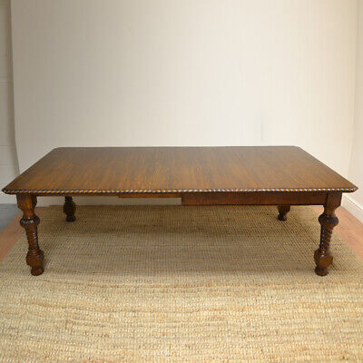 Quality Large Victorian Solid Oak Extending Antique Dining Table