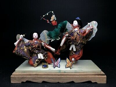 2 Antique NINGYO Japanese Dolls Playing Drums KABUKI Butterflies