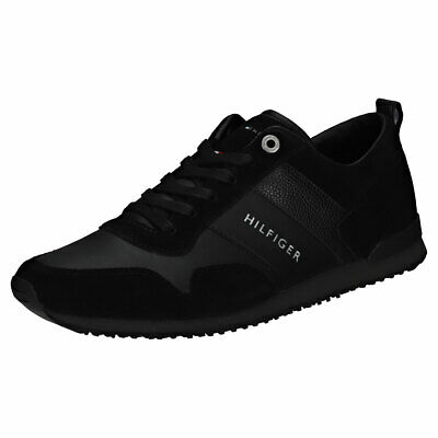 Tommy Hilfiger Iconic Mens Black Suede & Leather Casual Trainers