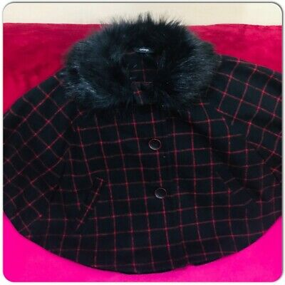 George Girls 6-7 Years Cape Coat Jacket Faux Fur Neck Black Red Check Button