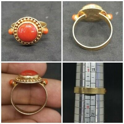 stunning gold plated with coral stone lovely ring