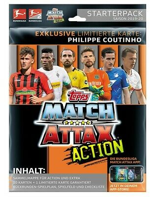 Topps Match Attax Action 2019/2020 Starterpack + 2 Displays - 40 Booster 19/20