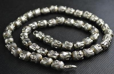China Vintage Collectibles Tibet Silver Carving Buddha Exorcism Amulet Necklace