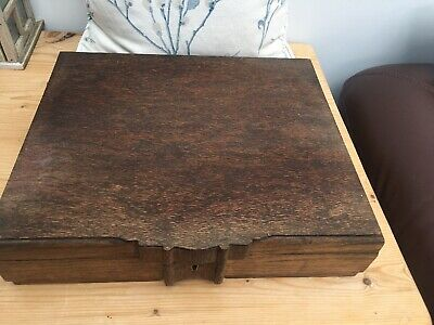 1930's /1940's  Large Vintage Wooden 0ak Cutlery Box With Lock & Key to Restore?