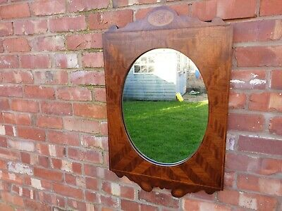 Edwardian mirror with solid parquetry frame with acorn pattern antique